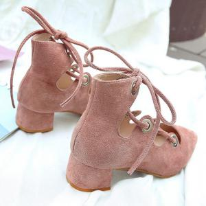 Lace Up Pointed Toe Chunky Heel Pumps - LIGHT PINK 39