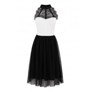 Color Block Lace Insert Pin Up Dress - Black White - S