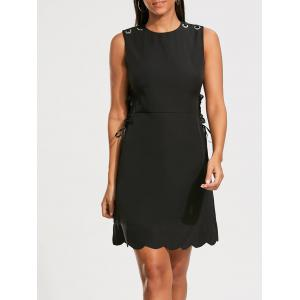 High Waist Sleeveless Scalloped Little Black Dress