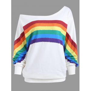 Print Rainbow Plus Size One Shoulder Top