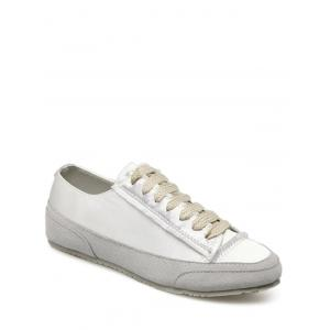 Casual Suede Insert Satin Sneakers - WHITE 37