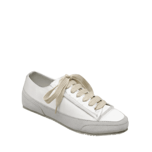 Casual Suede Insert Satin Sneakers - WHITE 38