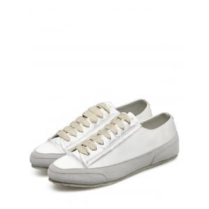 Casual Suede Insert Satin Sneakers - WHITE 39