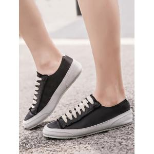 Casual Suede Insert Satin Sneakers - BLACK 40