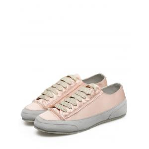 Casual Suede Insert Satin Sneakers - CHAMPAGNE 40