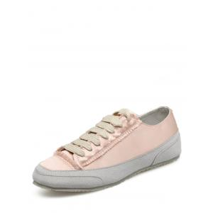 Casual Suede Insert Satin Sneakers - CHAMPAGNE 37