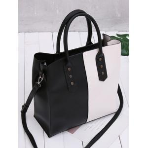Two Tone Metal Embellished Tote Bag - BLACK WHITE
