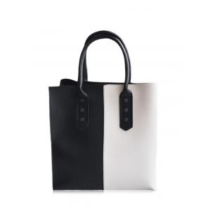 Two Tone Metal Embellished Tote Bag - Black White - 40