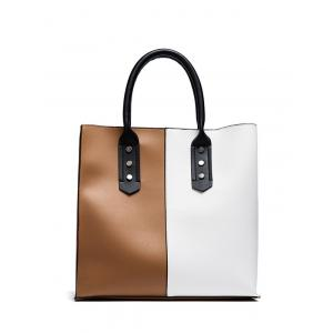 Two Tone Metal Embellished Tote Bag