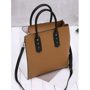 Two Tone Metal Embellished Tote Bag - WHITE AND BROWN