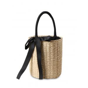 Straw Cylinder Shaped Ribbon Tote Bag - Beige