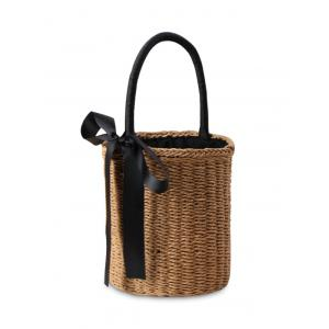 Straw Cylinder Shaped Ribbon Tote Bag