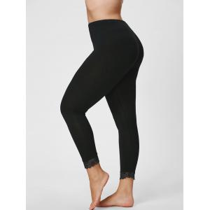 Plus Size Lace Hem Skinny Capri Leggings - Black - 3xl
