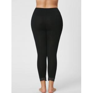 Plus Size Lace Hem Skinny Capri Leggings - BLACK 3XL