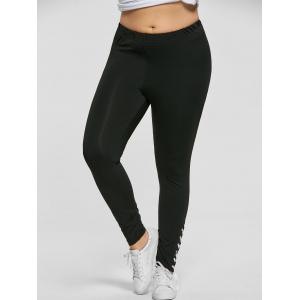 Plus Size Lace Up Tight Pants - BLACK 2XL