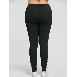 Plus Size Lace Up Tight Pants - BLACK 3XL