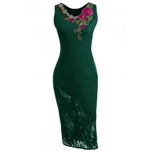 Lace Insert Embroidered Midi Bodycon Dress - Green - M