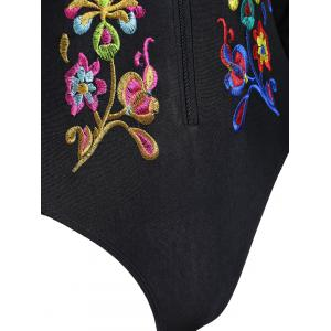Embroidered Plus Size Swimsuit with Long Sleeve - BLACK XL