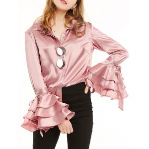 Long Layered Ruffles Sleeve Satin Shirt - Light Pink - Xl
