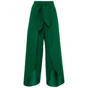 Tie Front High Split Palazzo Pants - Deep Green - M