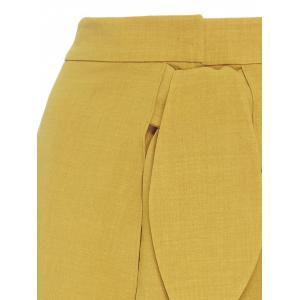 Tie Front High Split Palazzo Pants - YELLOW M