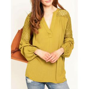 Hollow Out Lace Insert Long Sleeve Blouse - Yellow - L