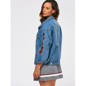 Rose Embroidery Drop Shoulder Jean Jacket -