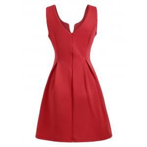 A Line Sleeveless Open Back Club Dress - RED L