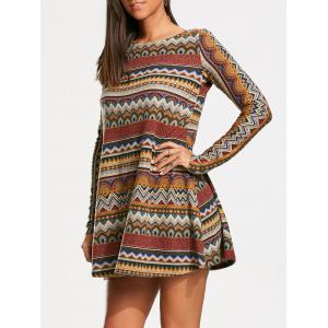 Long Sleeve Bohemia Print Tunic Dress - Colormix - Xl