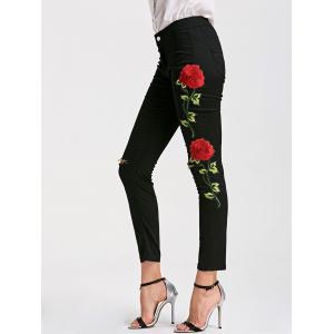 Skinny Ribbed Floral Embroidery Pants