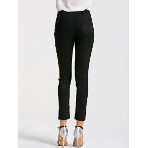 Skinny Ribbed Floral Embroidery Pants - BLACK M