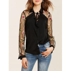 Flower Embroidered Lace Insert Long Sleeve Shirt