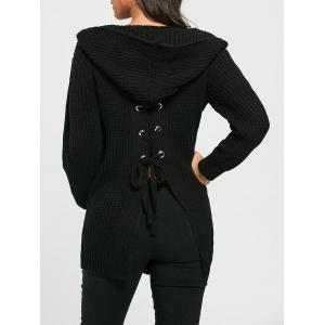 Lace Up Back Open Front Hooded Cardigan - Black - One Size