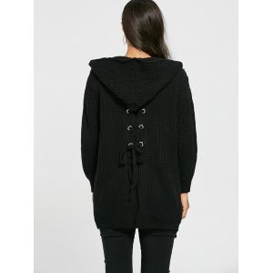 Lace Up Back Open Front Hooded Cardigan - BLACK ONE SIZE