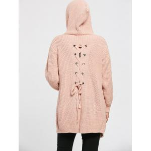 Lace Up Back Open Front Hooded Cardigan -