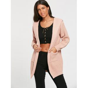 Lace Up Back Open Front Hooded Cardigan - LIGHT PINK ONE SIZE