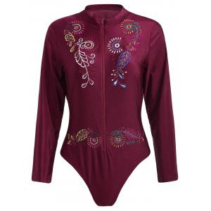 Plus Size Embroidered Sport Swimsuit
