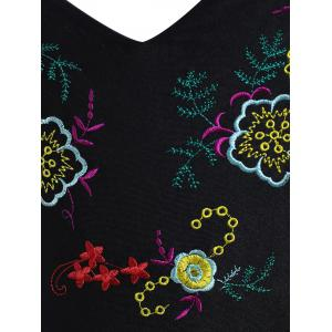 High Waisted Embroidered Plus Size Swimsuit - BLACK XL