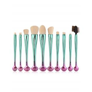 10Pcs Shell Shape Multifunction Gradient Color Brushes Set - White And Green