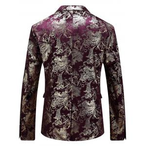 Single Breasted Floral Gilding Blazer - WINE RED 50