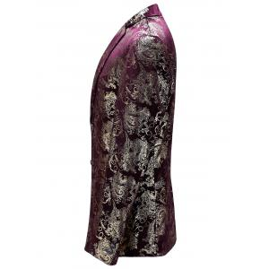 Single Breasted Floral Gilding Blazer - WINE RED 52