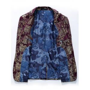 Single Breasted Floral Gilding Blazer - WINE RED 54