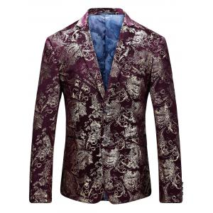Single Breasted Floral Gilding Blazer - Wine Red - 58