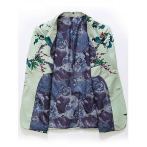 Single Breasted Vintage Floral Print Blazer - LIGHT GREEN 50