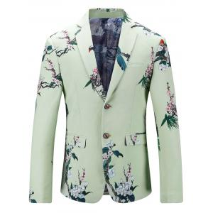 Single Breasted Vintage Floral Print Blazer
