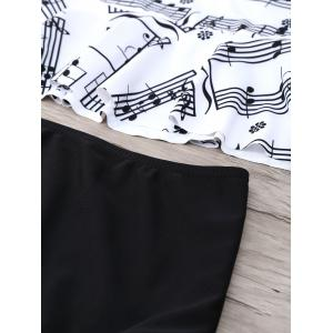 Musical Notes Flounce Peplum Tankini Set - WHITE AND BLACK S