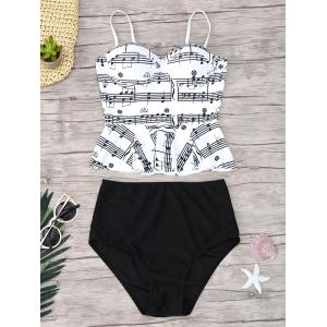 Musical Notes Flounce Peplum Tankini Set - White And Black - Xl