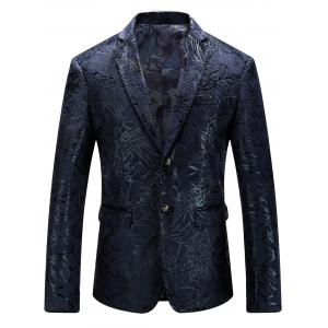 Single Breasted Abstract Printed Blazer - Purplish Blue - 58