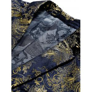 Single Breasted Floral Gilding Blazer - PURPLISH BLUE 52