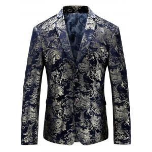 Single Breasted Floral Gilding Blazer - Purplish Blue - 58